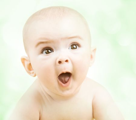 people laughing: Portrait of cute little baby boy Stock Photo