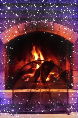 brick kiln: Beautiful magic fireplace in cold winter day Stock Photo