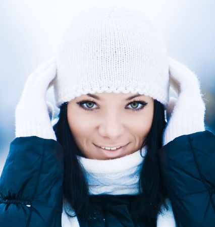 Closeup portrait of beautiful young smiling girl
