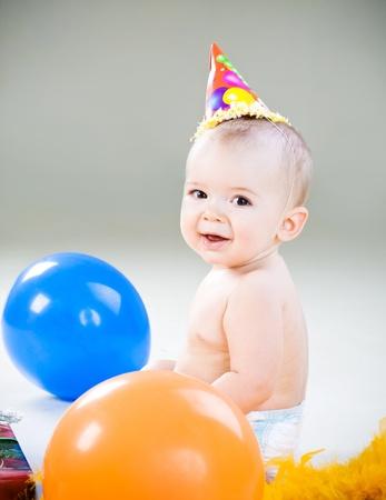 First birhday of cute baby boy
