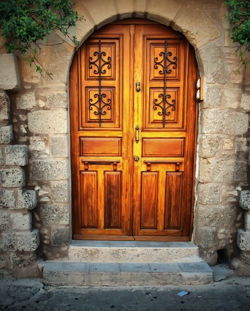 ancient buildings: Ancient door in Rhodes island, Greece