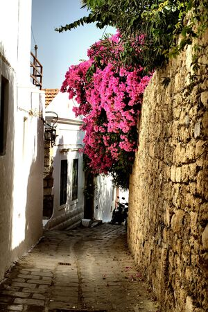 sity: Medieval street in ancient Lindos sity of Rhodes island, Greece