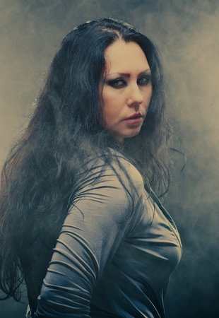 Beautiful gothic woman with black long hair Stock Photo - 8781932