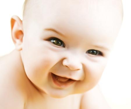 Portrait of happy smiling baby boy Imagens
