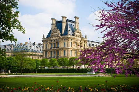 Beautiful view of Louvre palace, Tuileries garden side, Paris, France photo