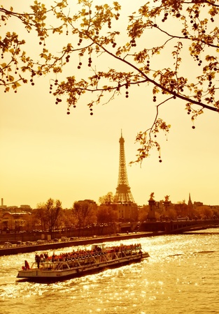 Beautiful golden sunset in Seine river, Paris, France photo