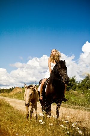 Beautiful young woman on horse with foal photo