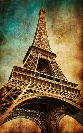 Vintage postcard with Eiffel tower, Paris, France Stock Photo - 10363564