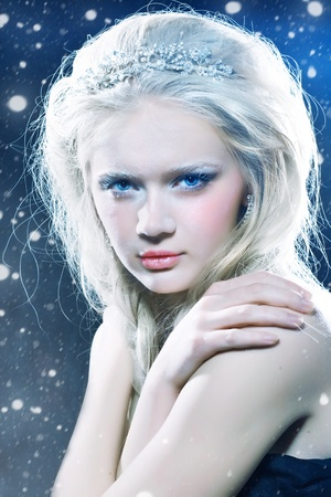 Portrait of beautiful girl with winter makeup photo