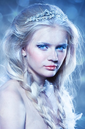 ice queen: Beautiful portrait of winter princess