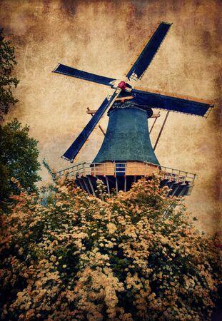 Old mill in Keukenhof, Holland Stock Photo - 18756635