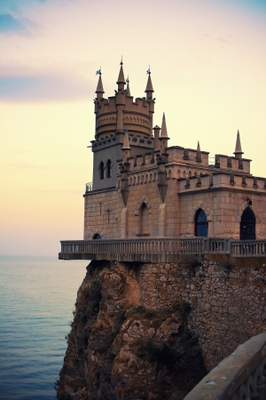 Beautiful castle Shallow nest in sunset, Yalta, Crimea