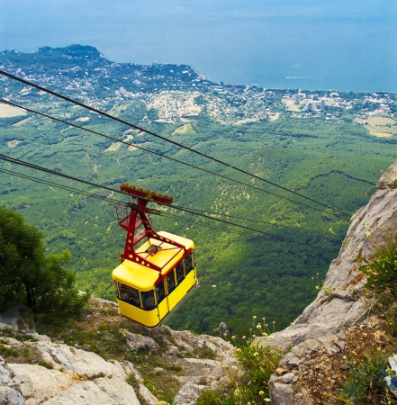 Ropeway in Ai-Petri mountain, Creamea, Ukraine photo