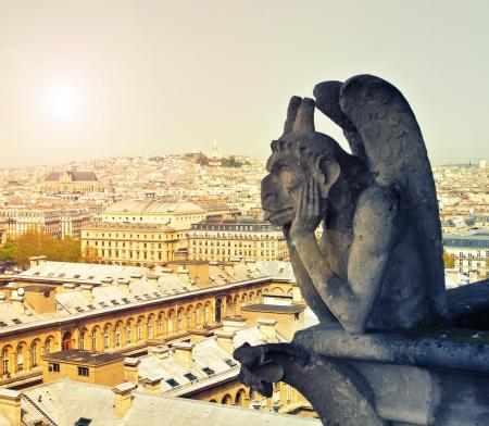 chimera: Chimera on Notre Dame de Paris, Paris, France Stock Photo