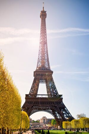 Eiffel tower in sunshine, Paris, France photo