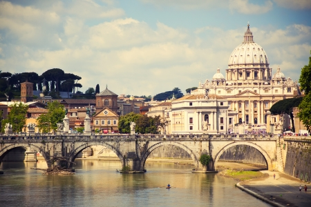 st peter: View of Saint Peter cathedral and bridge Saint Angel, Rome, Italy