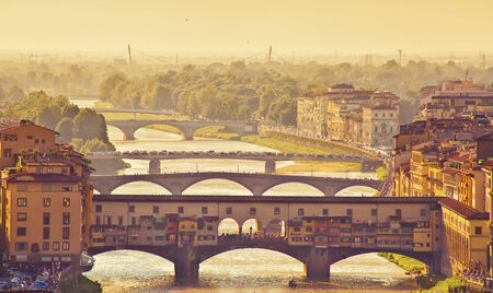 italy culture: Beautiful view of bridge Ponte Vecchio, Florence, Italy Stock Photo