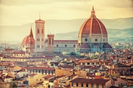 sun worship: Beautiful view of Santa Maria del Fiore in sunset, Florence, Italy