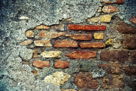 Wall with brick background texture photo