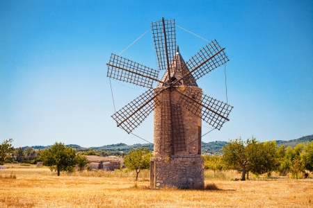 arrange: Medieval windmill in Mallorca, Balearic island, Spain
