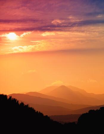 Beautiful sunset in mountains, Mallorca, Balearic island, Spain photo
