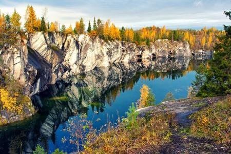 cave exploring: Mountain park Ruskeala, Republic of Karelia, Russia
