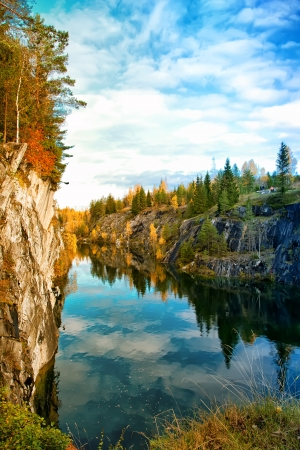 mmagic autumn in mountain park Ruskeala, Republic of Karelia, Russia photo
