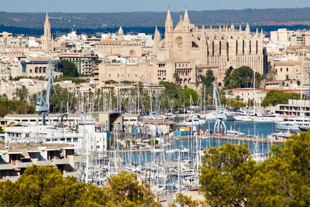 Palma de Mallorca port and Cathedral La Seu, view from Belver castle, Mallorca, Balearic island, Spain