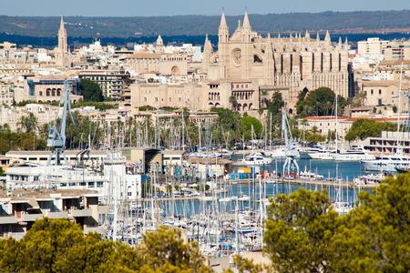 Palma de Mallorca port and Cathedral La Seu, view from Belver castle, Mallorca, Balearic island, Spain