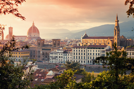Beautiful view of Basilica Santa Maria Del Fiore and Basilica Santa Croce in sunset, Florence, Italy photo