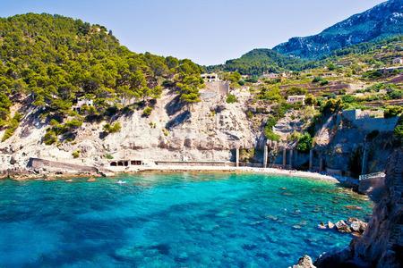 Beautiful lagoon Cala Banyalbufar in Mallorca island, Spain Stock Photo