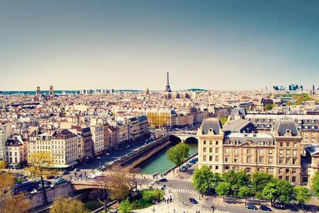 vintage paris: Beautiful view of Paris and Eiffel tower, France