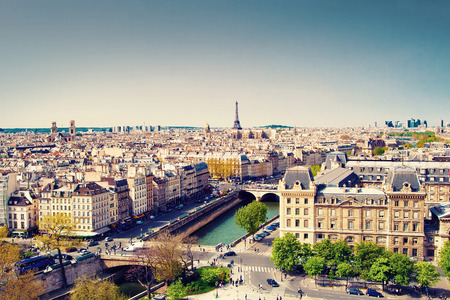 Beautiful view of Paris and Eiffel tower, France