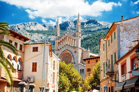 Beautiful view of Soller and Cathedral Sant Bartomeu, Mallorca, Spain