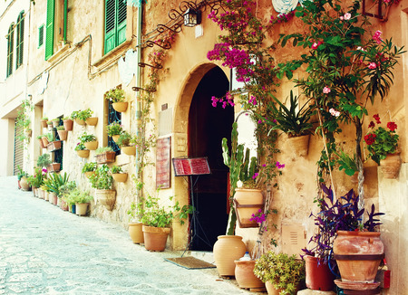 Street in Valldemossa village in Mallorca, Spain Banco de Imagens