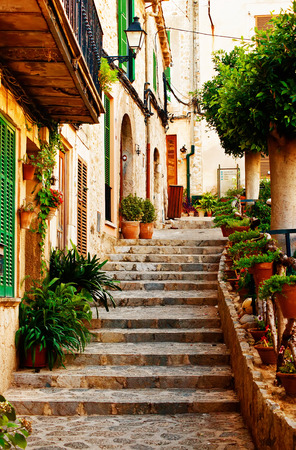spain: Street in Valldemossa village in Mallorca, Spain Stock Photo