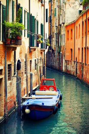 beautifu: Beautifu famous canals in Venice with boat, Italy Stock Photo