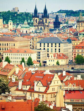 tyn: View to cityscape  of Prague and Tyn church in Prague, Czech republic
