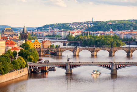 Beautiful view to bridges and Vltava, Prague, Czech Republic photo