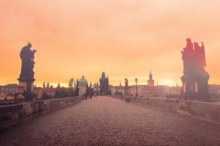 Charles bridge at dawn, Prague, Czech Republic photo