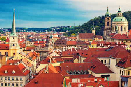 Beautiful cityscape of Prague with cathedral of St. Nicholas