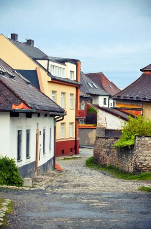 Charming street with old hauses in Kutna Hora, Bohemia photo