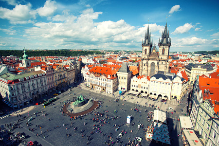 View to Old Town Square and Tyn church, Prague, Czech Republic