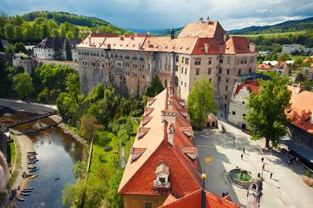 krumlov: Beautiful view to castle in Cesky Krumlov, Czech Republic