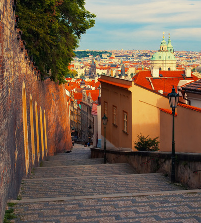 footway: Medieval staircase in Prague, Czech Republic Stock Photo
