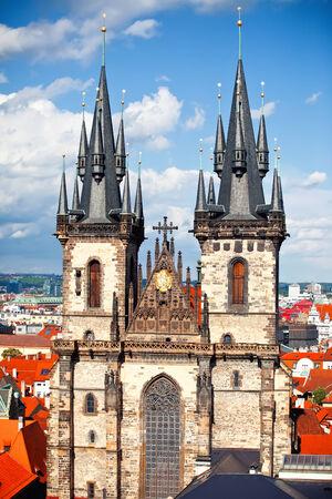 Old Town square with Tyn church, Prague, Czech Republic photo