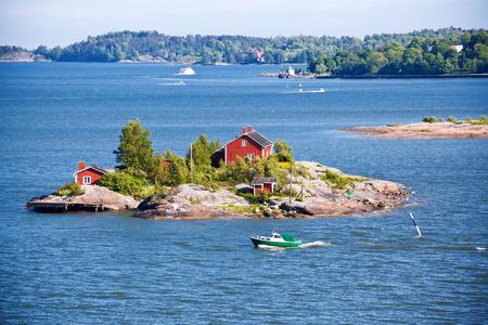 House on island in Baltic sea, Helsinki, Finland
