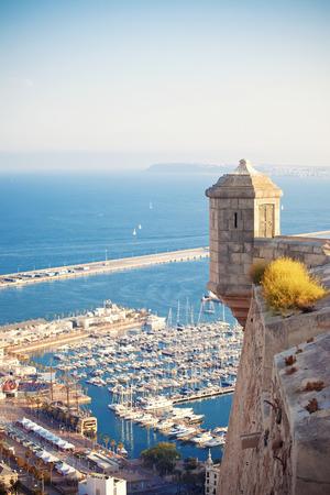 barbara: View from Santa Barbara castle to harbor Alicante, Spain