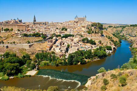 alcazar: Beautiful view to Alcazar and river Tajo in Toledo, Spain