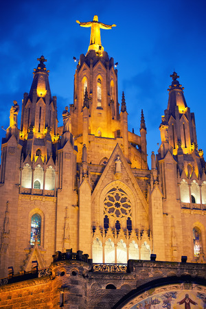 cor: Temple of the sacred heart of Jesus on Tibidabo, Spain
